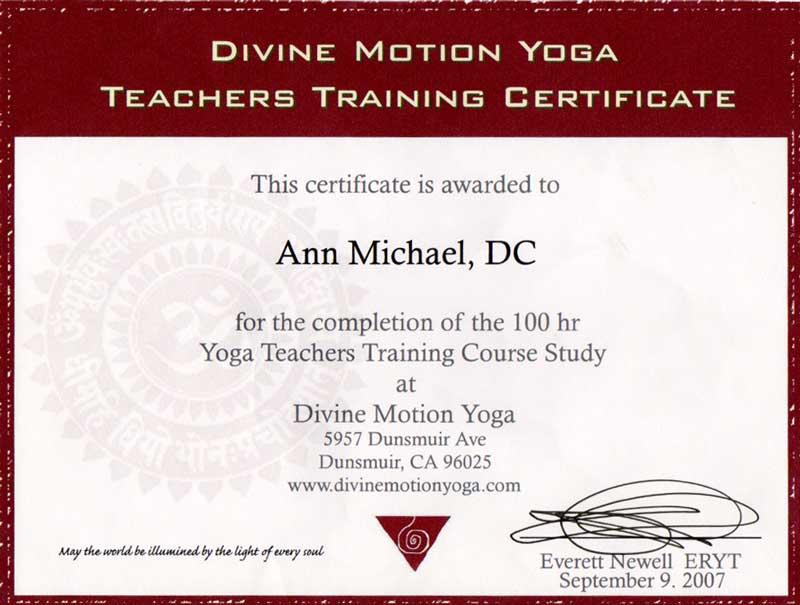 Divine Yoga Motion Certificate