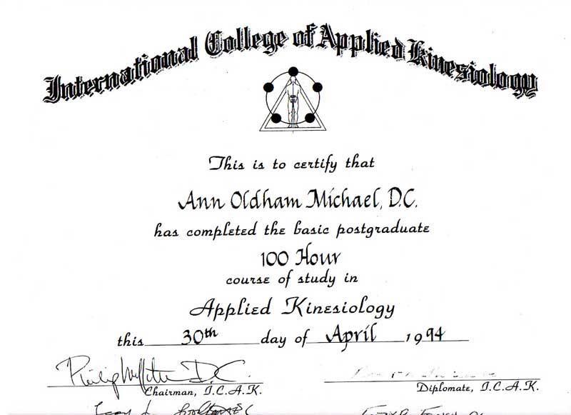 Certificate forAnn Michael DC
