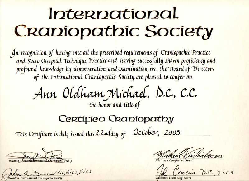 International Chiroprcatic Society Certificate